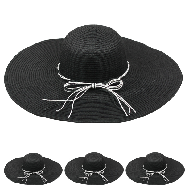 Woman Floppy Summer Straw Hat Black (115)