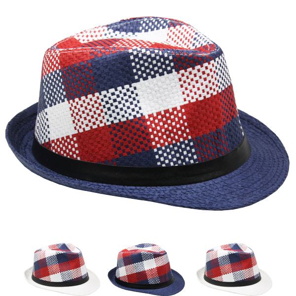 Checkered Mix Color Trilby Fedora Hat Set (0096)