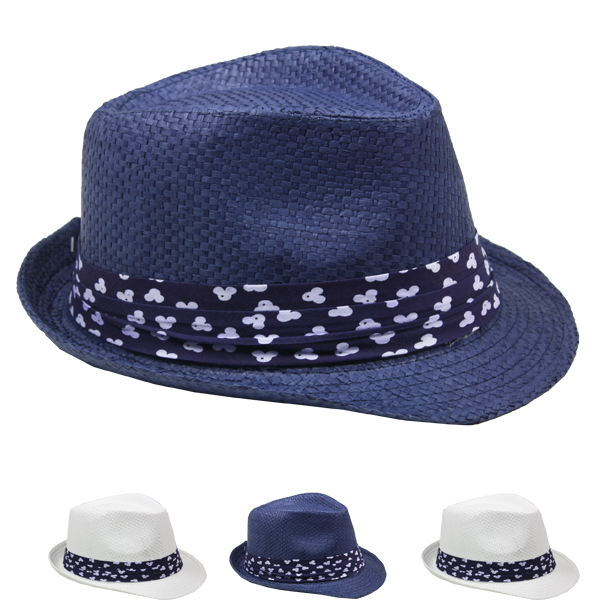 Adult Trilby Fedora Straw Hat Set with Ribbon Band (044)