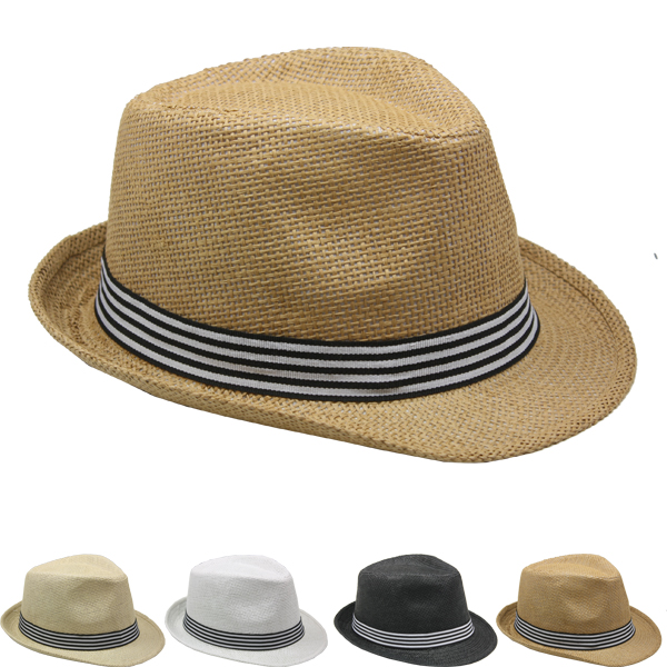 Adult Trilby Fedora Straw Hat Set with Strip Band (045)