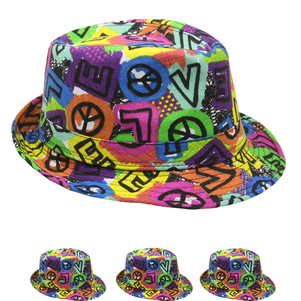 Crazy Love Neon Color Trilby Fedora Beach Party Hat (073)