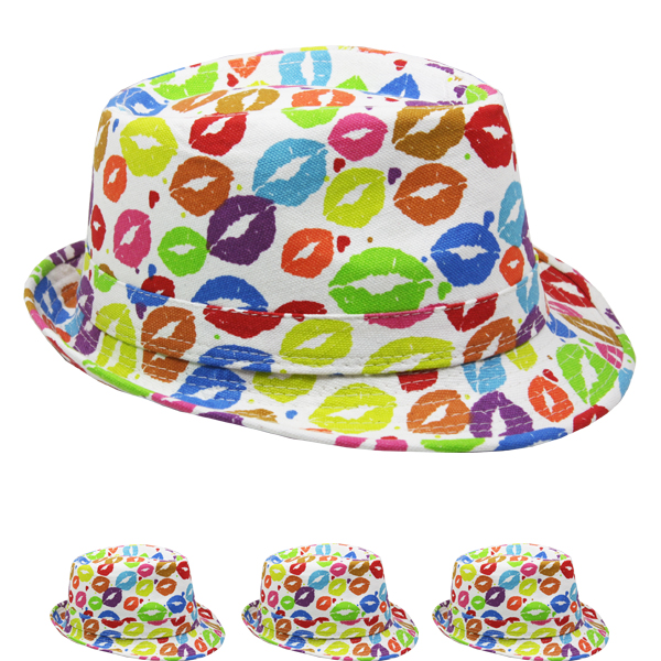 Lips Design Adult Trilby Fedora Party Hat (072)