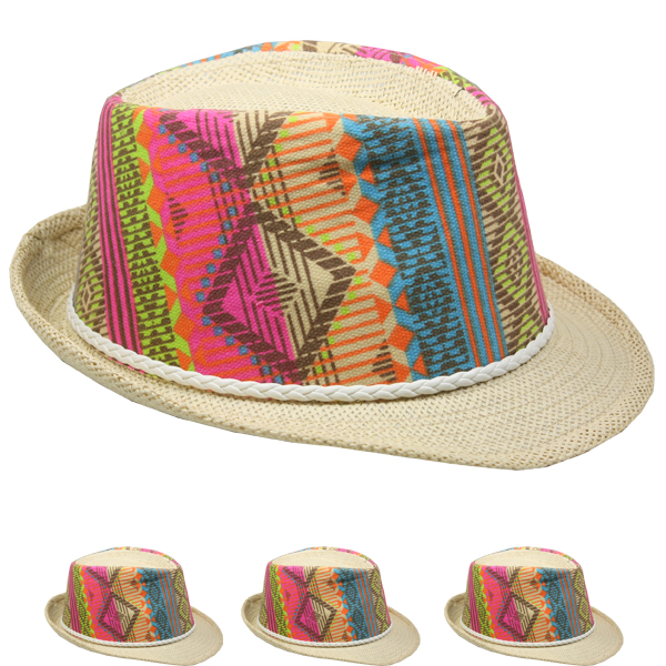 Elegant Multicolor Straw Party Trilby Fedora Hat  (095)