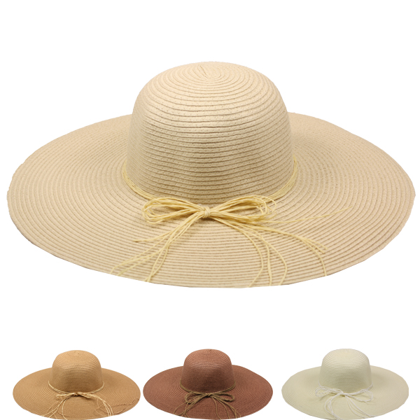 Wide Brim Bowknot Floppy Summer Straw Hat (119)