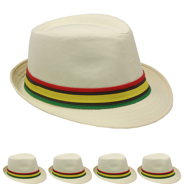 Adult Trilby Fedora Hat Set with Colorful Strip Band (058)