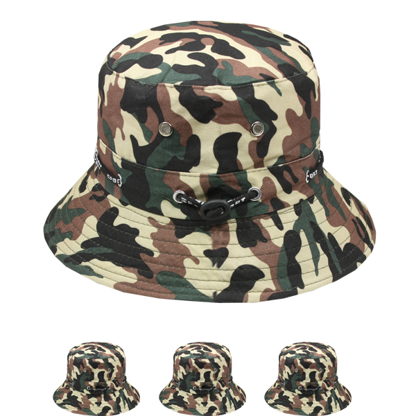Men Camouflage Pattern Cotton Bucket Hat (036)