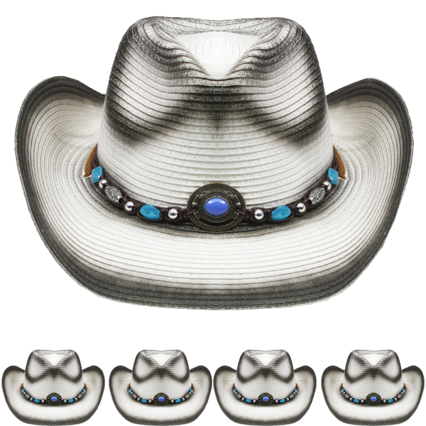 Shapeable Paper Straw Beaded Band Cowboy Hat (042)