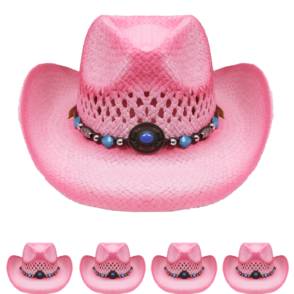Breathable Raffia Straw Beaded Band Pink Cowboy Hat (038)
