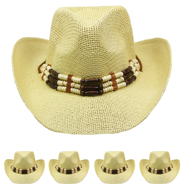 High Quality Paper Straw Beaded Band Brown Cowboy Hat (045)