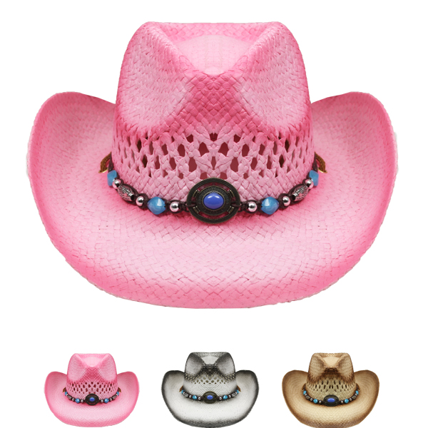 Breathable Raffia Straw Beaded Band Cowboy Mix Colors (040)