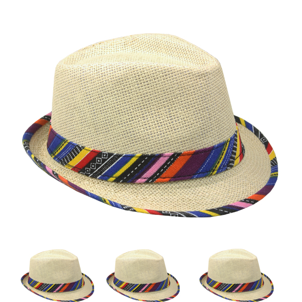 Trilby Straw Fedora Hat with Multicolor Strip Band (042)