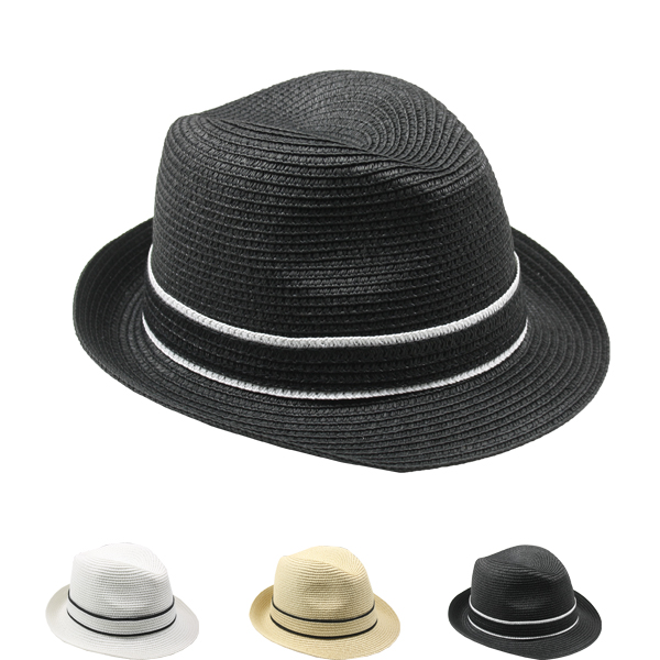 Black Raffia Straw Trilby Fedora Hat with Sweatband (091)