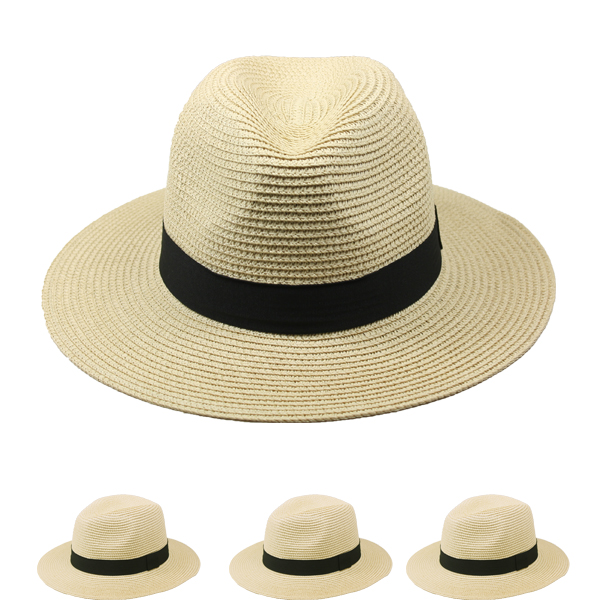 Men Fedora Straw Hat with Black Strip (032)