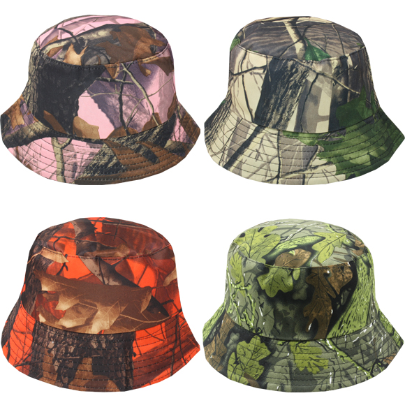 Multicolor Dry Leaf Pattern Men Bucket Hat (043)