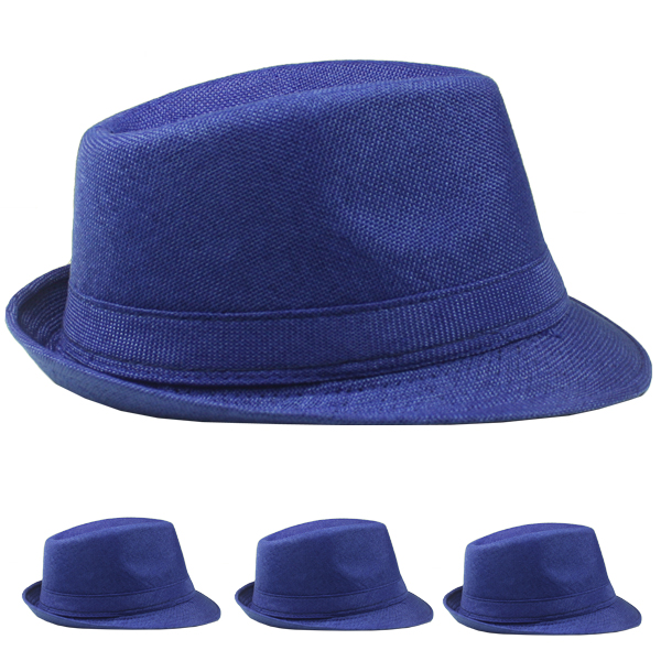 Beach Party Blue Color Adult Trilby Fedora Hat (017)