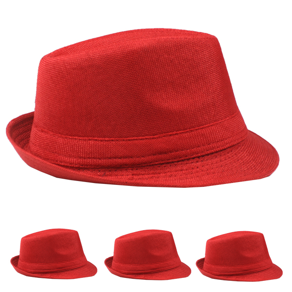 Trending Beach Party Red Adult Trilby Fedora Hat (012)