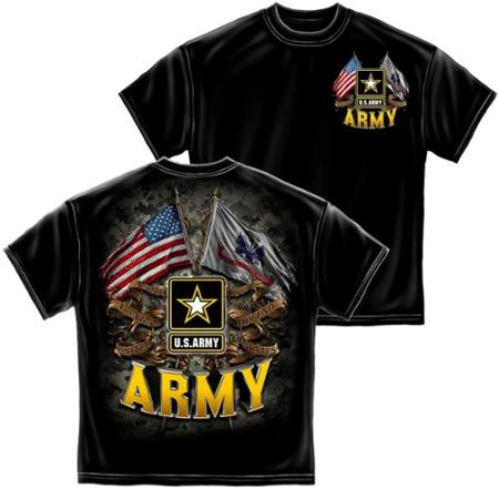 T-SHIRT 001 DOUBLE FLAG US ARMY BLACK SMALL SIZE