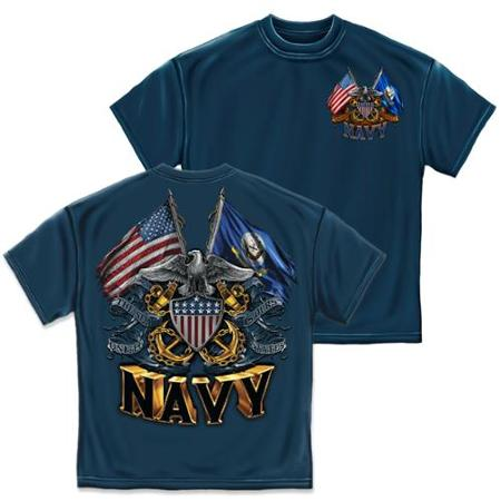 T-SHIRT 005 DOUBLE FLAG EAGLE SHIELD NAVY BLUE SMALL SIZE