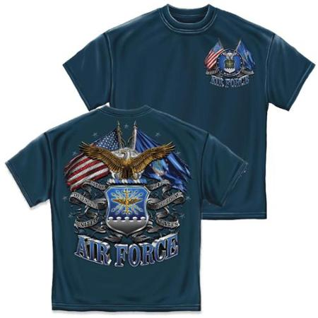 T-SHIRT 009 DOUBLE FLAG AIRFORCE EAGLE NAVY BLUE SMALL SIZE