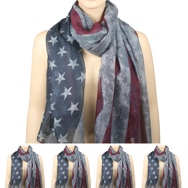 Vintage Faded American Flag Scarf (102)