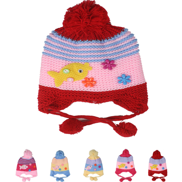 Fish Badge Knitted Kids Winter Hats (007)