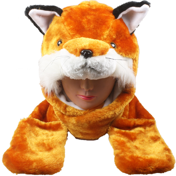 Cute Plush Fox Animal Character Builtin Paws Mittens Hat (114)