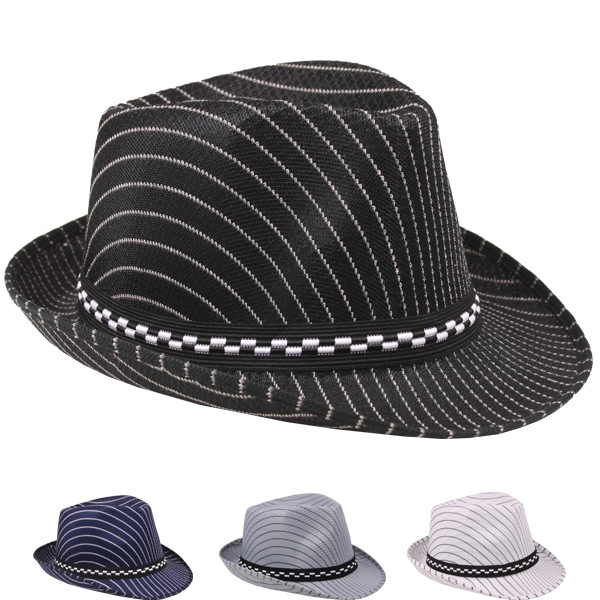 Pinstripes Casual Kid Trilby Fedora Hat Set Mix Color (010)