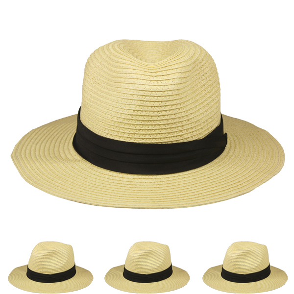 Plain Solid Colors Man Fedora Hat with Black Strip (054)