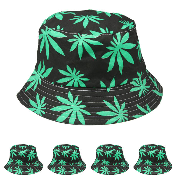 Cannabis Weed Leaf Print Men Cotton Bucket Hat (041)