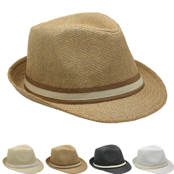 Elegant Adult Casual Straw Trilby Fedora Hat Set (026)