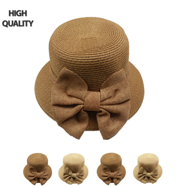 Women Bow Tie Bowler Sun Hat (800)