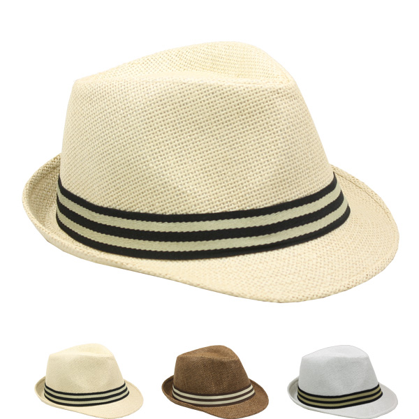 Trending Adult Casual Straw Trilby Fedora Hat Set (028)