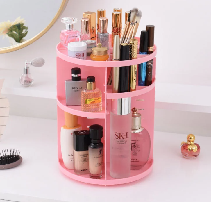 Pink 360 Rotating Makeup Organizer (203)